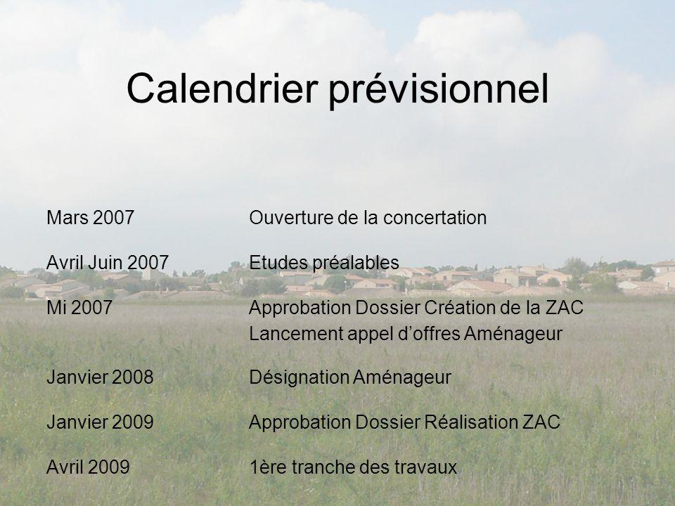 Calendrier prévisionnel Mars 2007Ouverture de la concertation Avril Juin 2007Etudes préalables Mi 2007Approbation Dossier Création de la ZAC Lancement