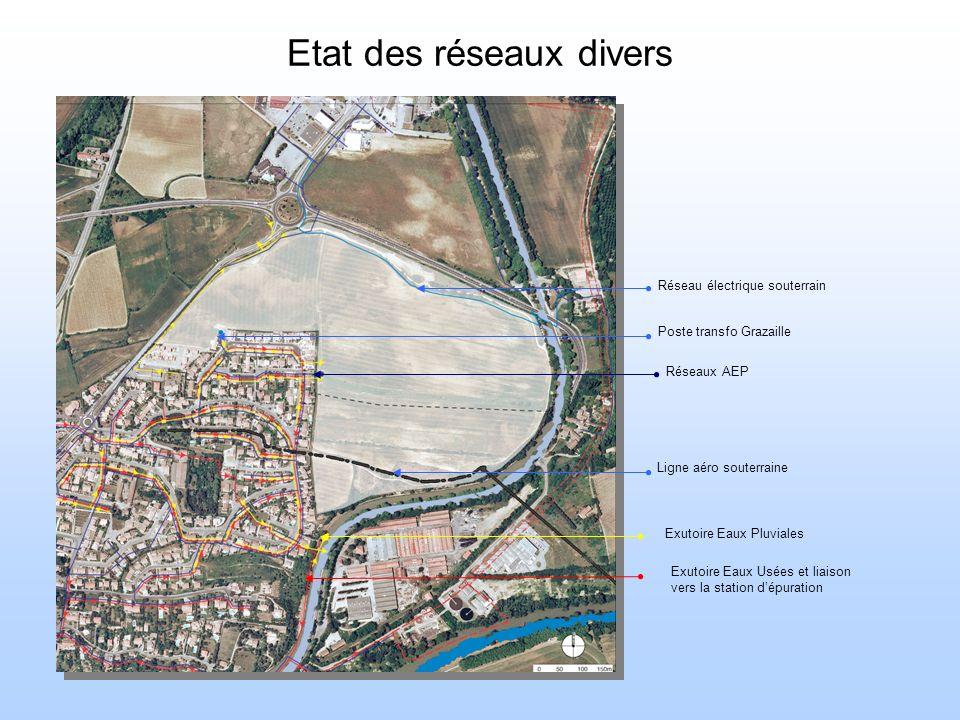 Etat des réseaux divers Ligne aéro souterraine Exutoire Eaux Pluviales Réseaux AEP Exutoire Eaux Usées et liaison vers la station dépuration Poste transfo Grazaille Réseau électrique souterrain