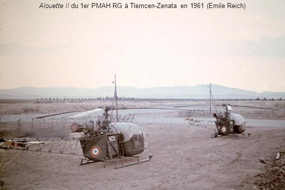Alouette II du 1er PMAH RG à Tlemcen-Zenata en 1961 (Emile Reich)
