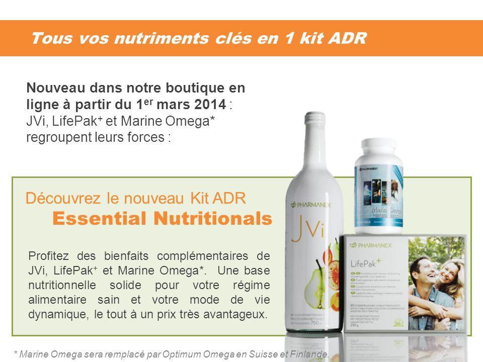 Tous vos nutriments clés en 1 kit ADR Profitez des bienfaits complémentaires de JVi, LifePak + et Marine Omega*. Une base nutritionnelle solide pour v