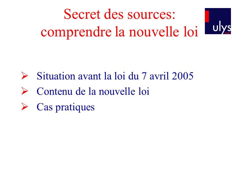 Secret des sources: comprendre la nouvelle loi Situation avant la loi du 7 avril 2005 Contenu de la nouvelle loi Cas pratiques