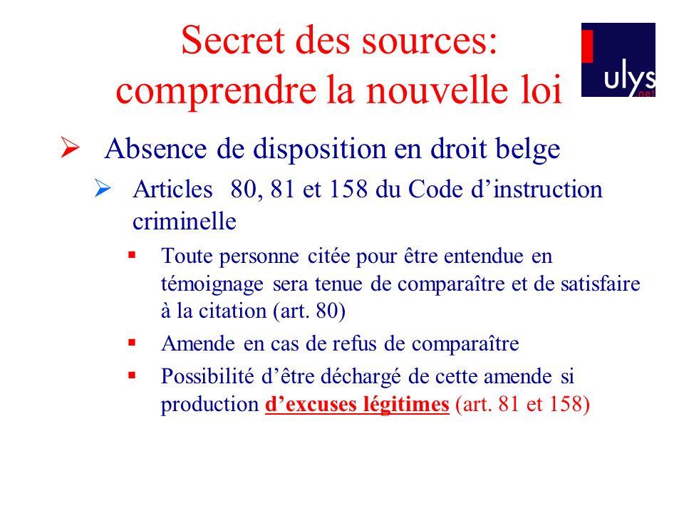 Secret des sources: comprendre la nouvelle loi Absence de disposition en droit belge Articles 80, 81 et 158 du Code dinstruction criminelle Toute personne citée pour être entendue en témoignage sera tenue de comparaître et de satisfaire à la citation (art.