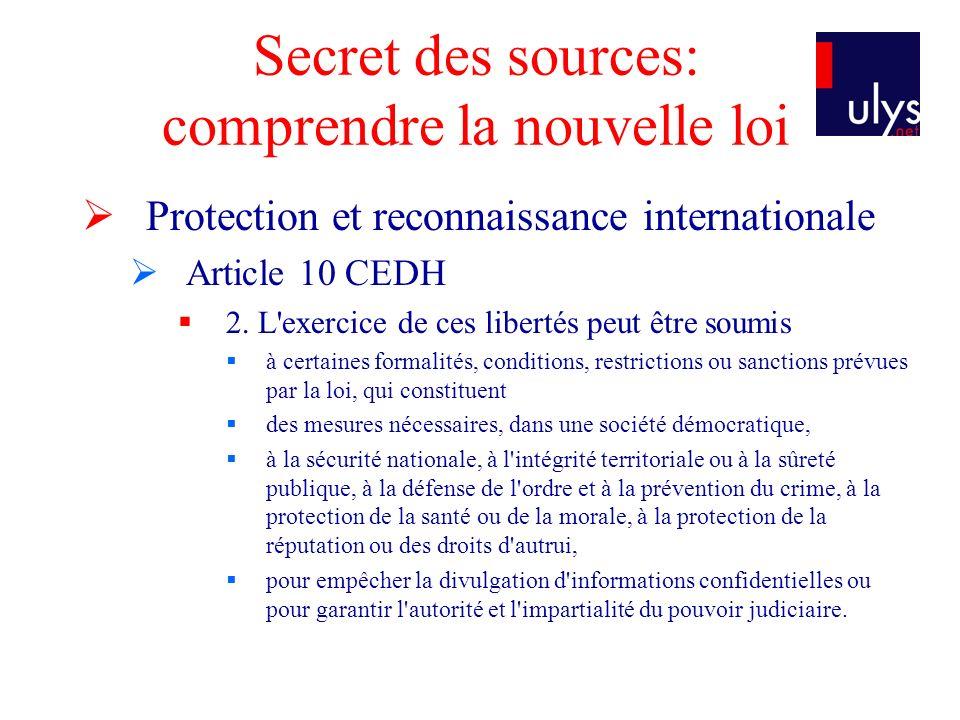 Secret des sources: comprendre la nouvelle loi Protection et reconnaissance internationale Article 10 CEDH 2.