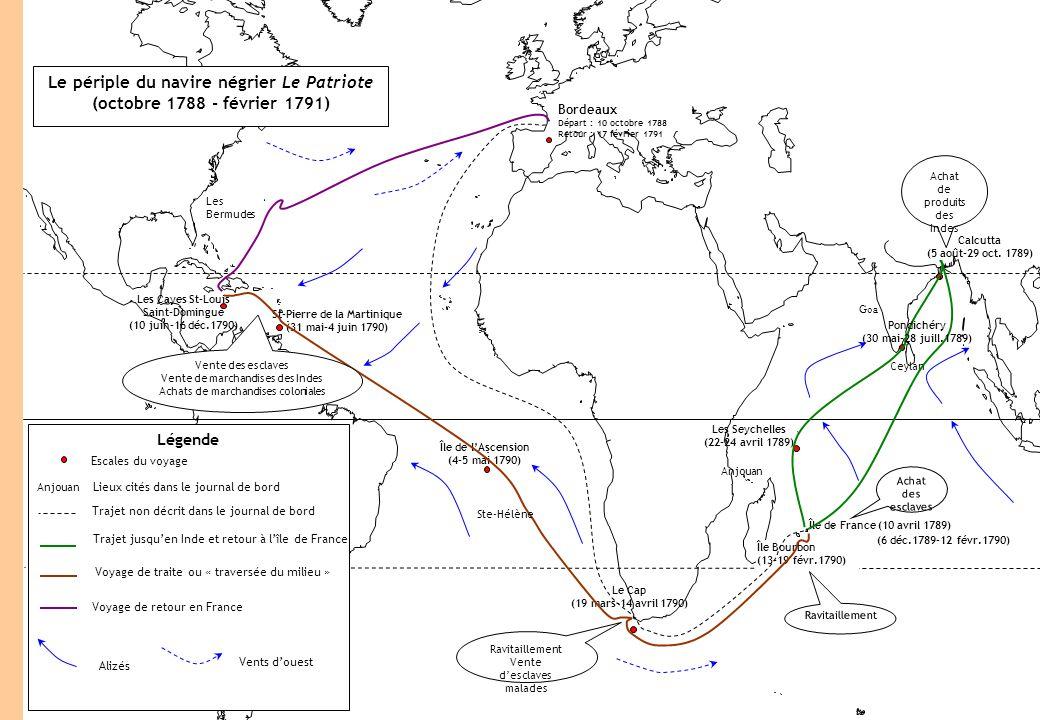 Fond de carte Le périple du navire négrier Le Patriote (octobre 1788 - février 1791) Légende