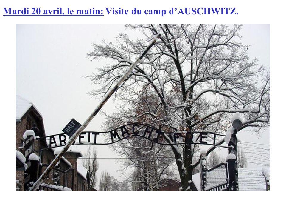 Mardi 20 avril, le matin: Visite du camp dAUSCHWITZ.