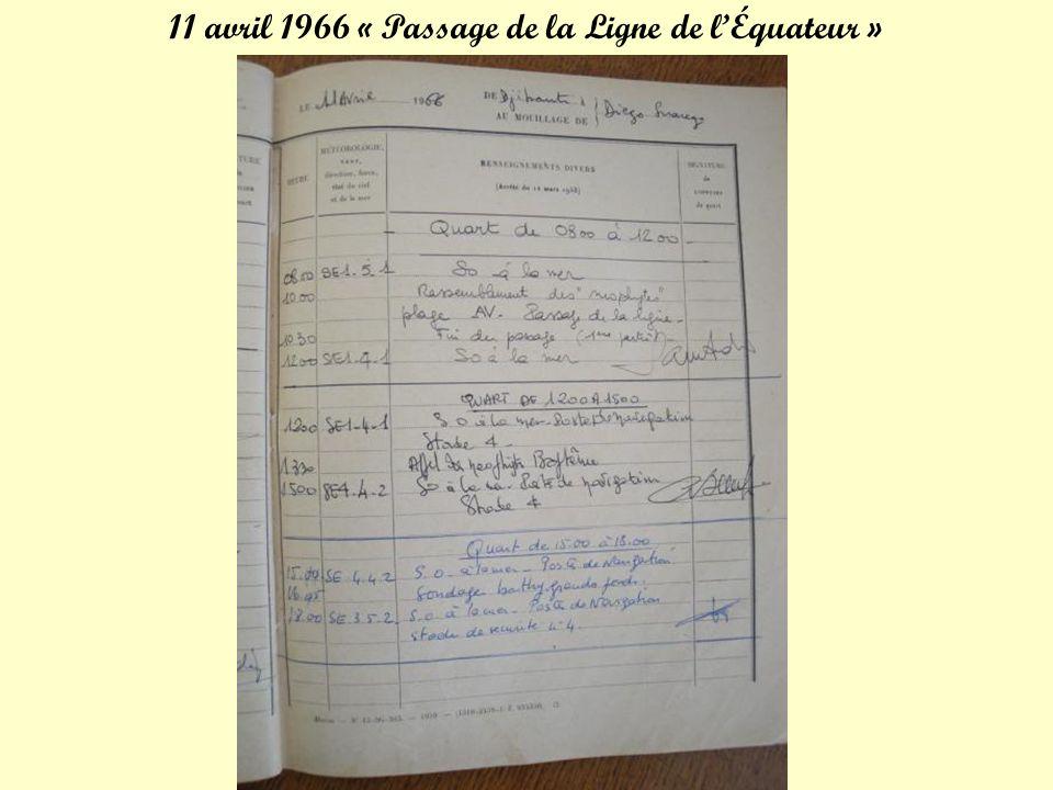 6 avril 1966 9.35h: Appareillage de Djibouti vers Diégo Suarez