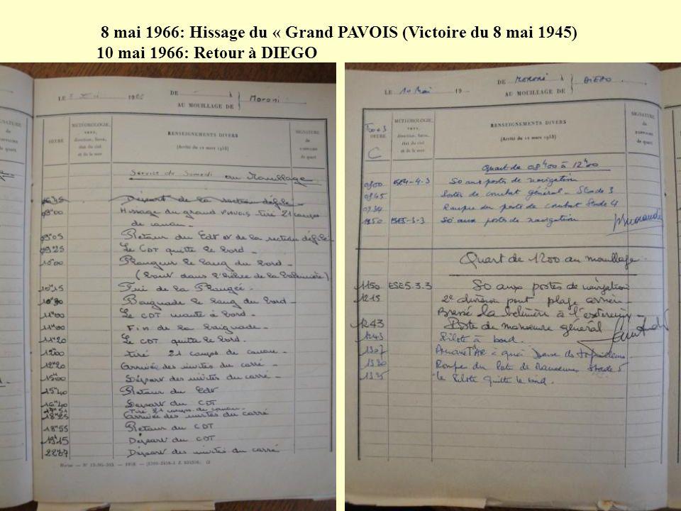 5 mai 1966 06.00h.Appareillage pour MUTSAMUDU (Anjouan) – Mouillage à 11.00h.