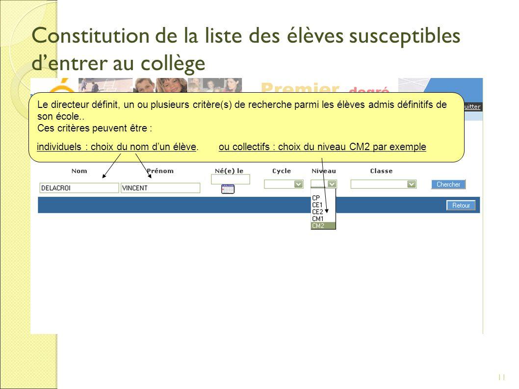 11 Constitution de la liste des élèves susceptibles dentrer au collège Le directeur définit, un ou plusieurs critère(s) de recherche parmi les élèves admis définitifs de son école..