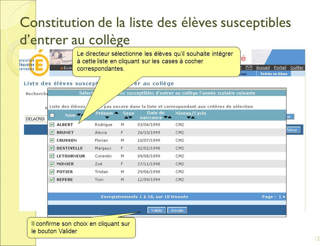 12 Constitution de la liste des élèves susceptibles dentrer au collège Le directeur sélectionne les élèves quil souhaite intégrer à cette liste en cliquant sur les cases à cocher correspondantes.