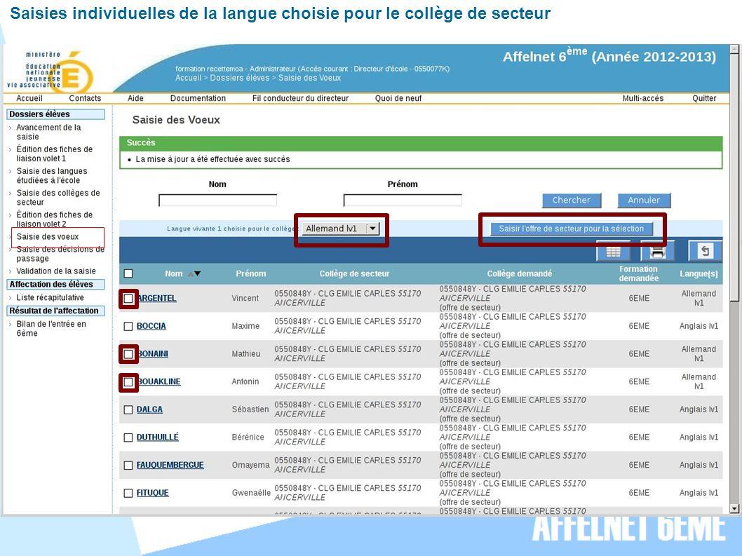 Saisies individuelles de la langue choisie pour le collège de secteur