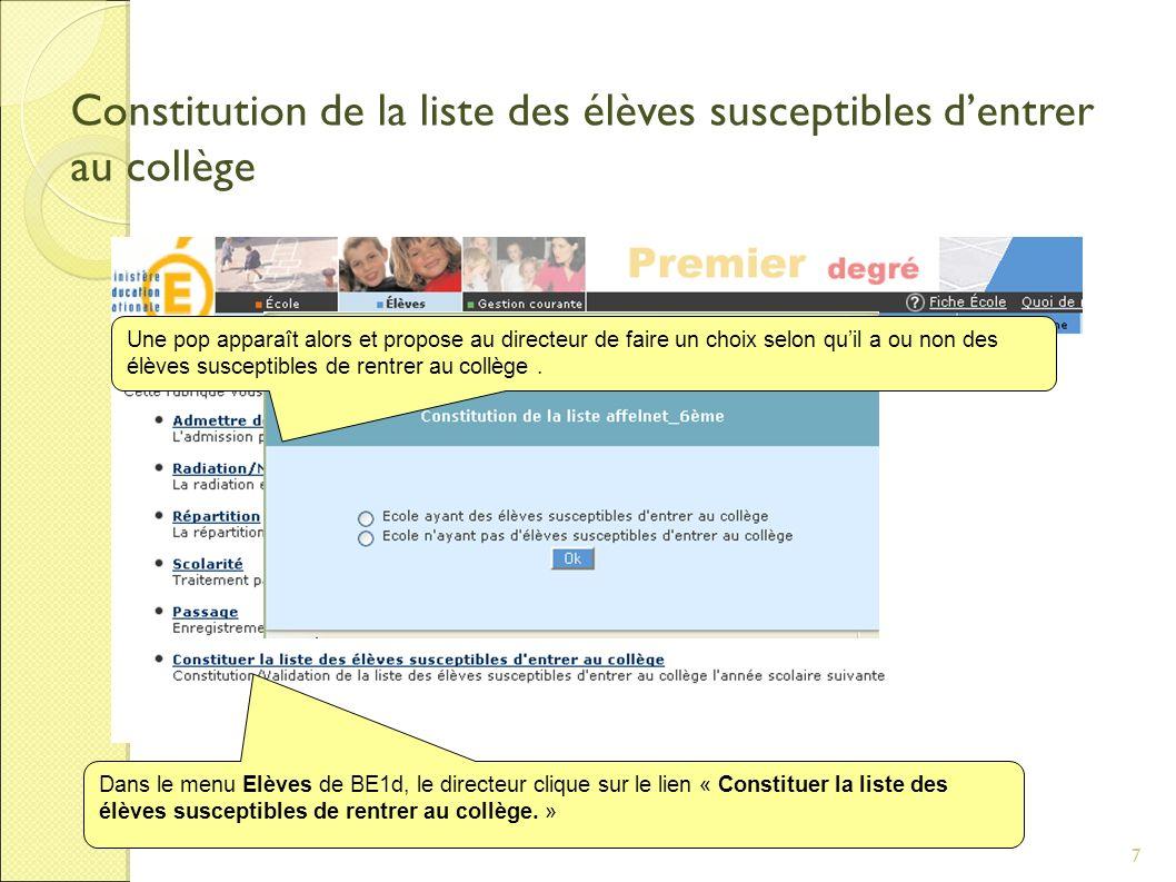 7 Constitution de la liste des élèves susceptibles dentrer au collège Dans le menu Elèves de BE1d, le directeur clique sur le lien « Constituer la liste des élèves susceptibles de rentrer au collège.