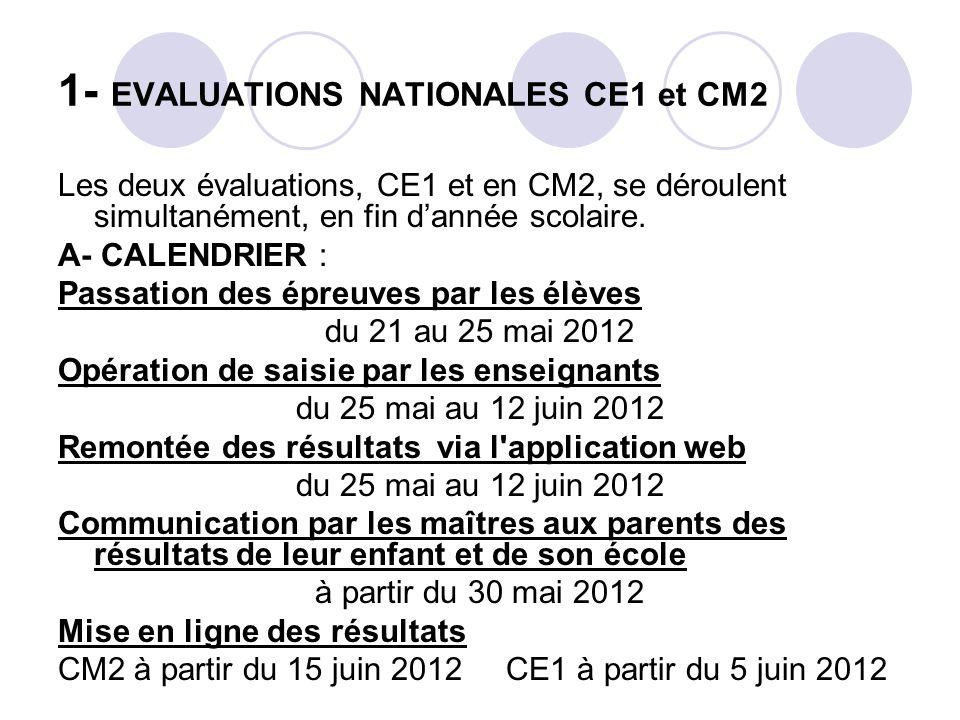 1- EVALUATIONS NATIONALES CE1 et CM2 Les deux évaluations, CE1 et en CM2, se déroulent simultanément, en fin dannée scolaire. A- CALENDRIER : Passatio