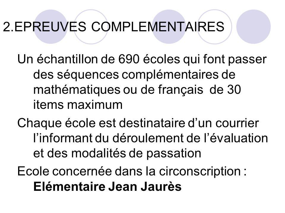 2.EPREUVES COMPLEMENTAIRES Un échantillon de 690 écoles qui font passer des séquences complémentaires de mathématiques ou de français de 30 items maxi