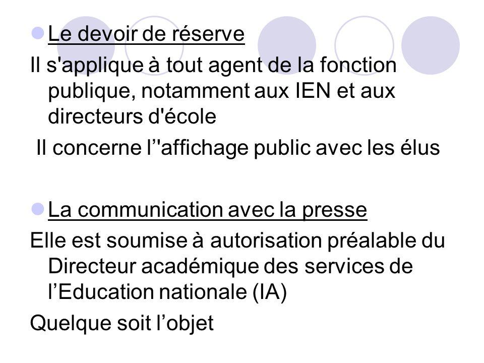 Le devoir de réserve Il s'applique à tout agent de la fonction publique, notamment aux IEN et aux directeurs d'école Il concerne l'affichage public av