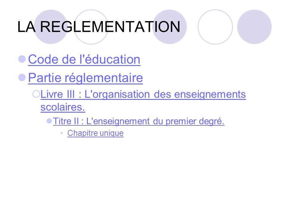 LA REGLEMENTATION Code de l'éducation Partie réglementaire Livre III : L'organisation des enseignements scolaires. Livre III : L'organisation des ense