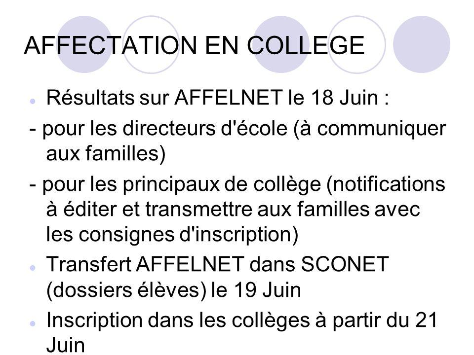 AFFECTATION EN COLLEGE Résultats sur AFFELNET le 18 Juin : - pour les directeurs d'école (à communiquer aux familles) - pour les principaux de collège