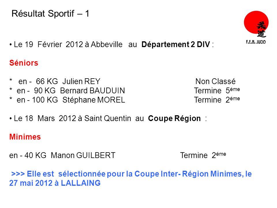 Résultat Sportif – 1 Le 19 Février 2012 à Abbeville au Département 2 DIV : Séniors * en - 66 KG Julien REY Non Classé * en - 90 KG Bernard BAUDUIN Ter