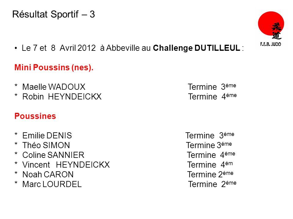 Résultat Sportif – 3 Le 7 et 8 Avril 2012 à Abbeville au Challenge DUTILLEUL : Mini Poussins (nes). * Maelle WADOUX Termine 3 éme * Robin HEYNDEICKX T