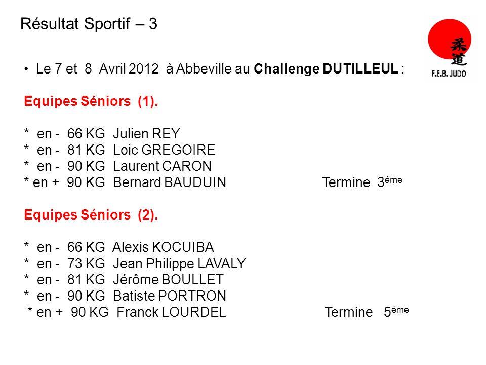 Résultat Sportif – 3 Le 7 et 8 Avril 2012 à Abbeville au Challenge DUTILLEUL : Equipes Séniors (1). * en - 66 KG Julien REY * en - 81 KG Loic GREGOIRE