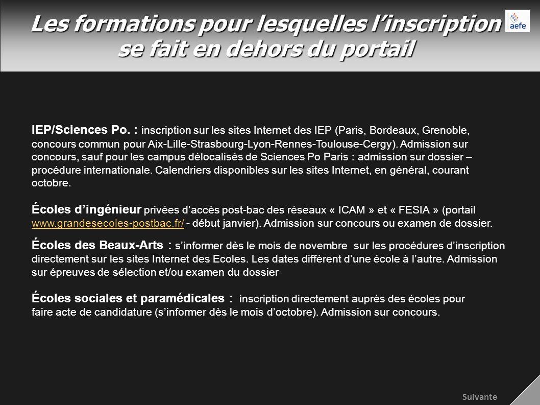 Les formations pour lesquelles linscription se fait en dehors du portail IEP/Sciences Po.