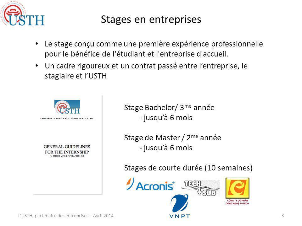 Stages en entreprises LUSTH, partenaire des entreprises – Avril 2014 Alexandre Yersin Stage Bachelor/ 3 me année - jusquà 6 mois Stage de Master / 2 me année - jusquà 6 mois Stages de courte durée (10 semaines) Le stage conçu comme une première expérience professionnelle pour le bénéfice de l étudiant et l entreprise d accueil.