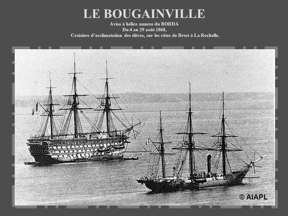 LE BOUGAINVILLE Aviso à hélice annexe du BORDA Du 4 au 29 août 1868, Croisière dacclimatation des élèves, sur les côtes de Brest à La Rochelle. © AIAP