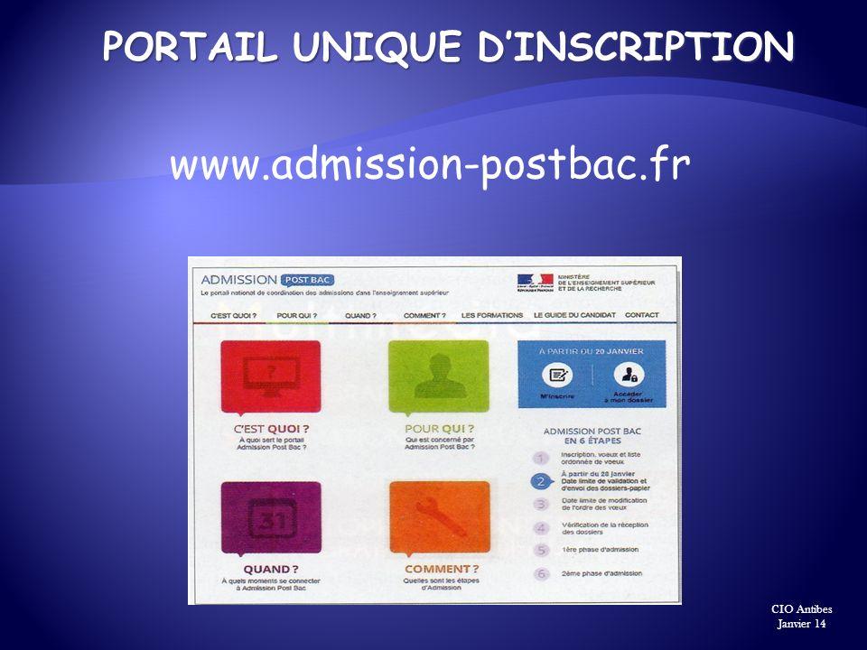 PORTAIL UNIQUE DINSCRIPTION www.admission-postbac.fr CIO Antibes Janvier 14