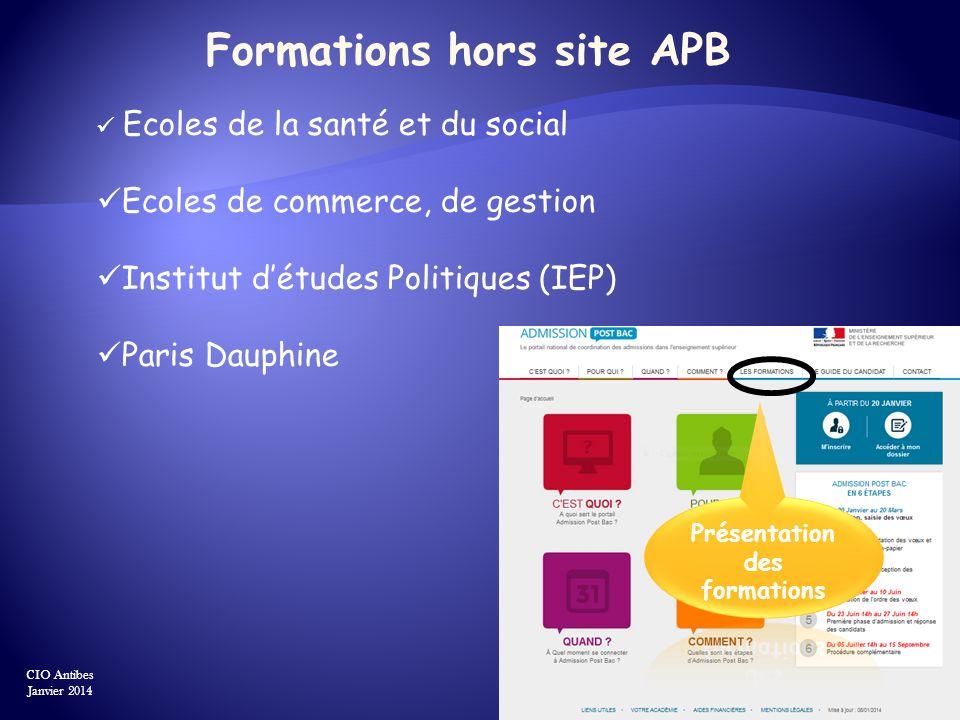 Formations hors site APB Ecoles de la santé et du social Ecoles de commerce, de gestion Institut détudes Politiques (IEP) Paris Dauphine CIO Antibes J
