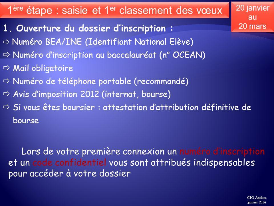 1. Ouverture du dossier dinscription : Numéro BEA/INE (Identifiant National Elève) Numéro dinscription au baccalauréat (n° OCEAN) Mail obligatoire Num