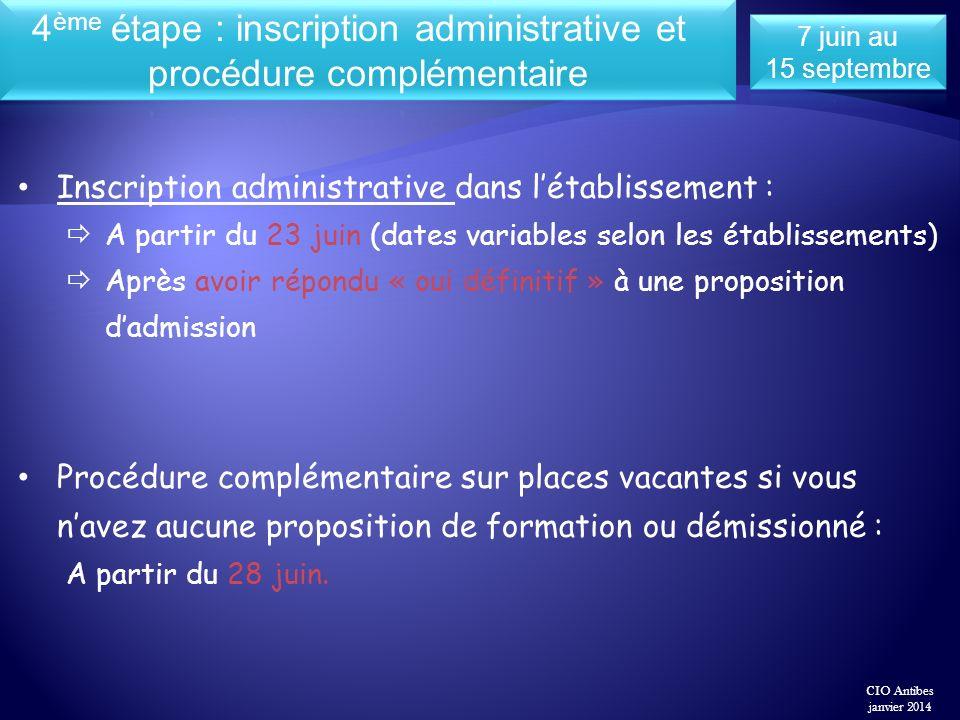 Inscription administrative dans létablissement : A partir du 23 juin (dates variables selon les établissements) Après avoir répondu « oui définitif »