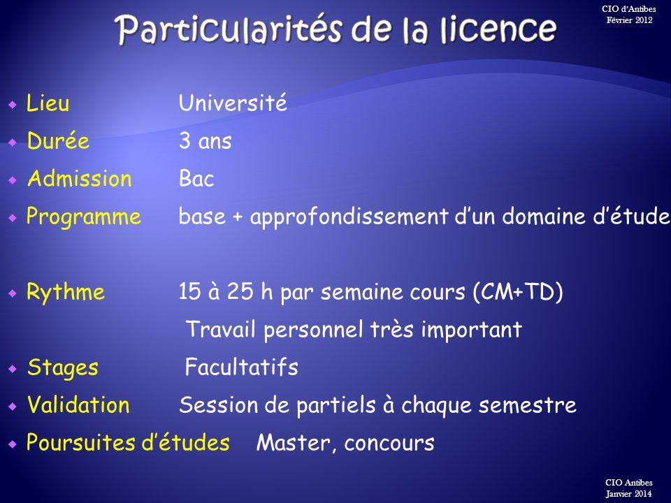 LieuUniversité Durée3 ans Admission Bac Programme base + approfondissement dun domaine détude Rythme15 à 25 h par semaine cours (CM+TD) Travail person