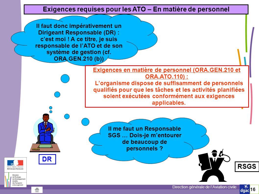 Direction générale de lAviation civile 16 Exigences requises pour les ATO – En matière de personnel Il me faut un Responsable SGS … Dois-je mentourer de beaucoup de personnels .