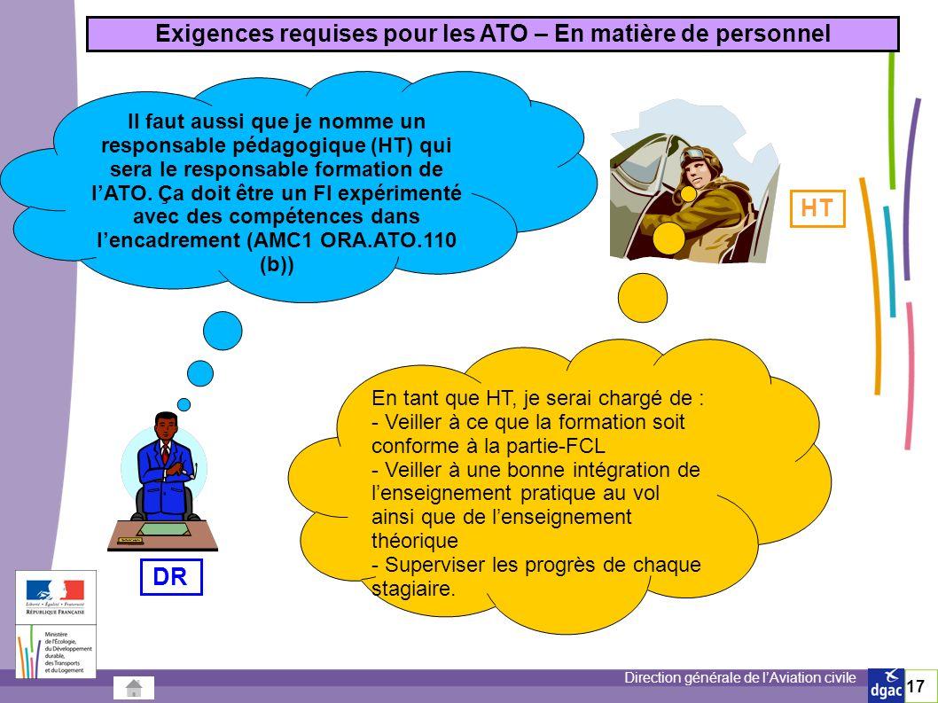 Direction générale de lAviation civile 17 Il faut aussi que je nomme un responsable pédagogique (HT) qui sera le responsable formation de lATO.