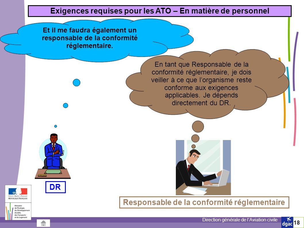 Direction générale de lAviation civile 18 Et il me faudra également un responsable de la conformité réglementaire.