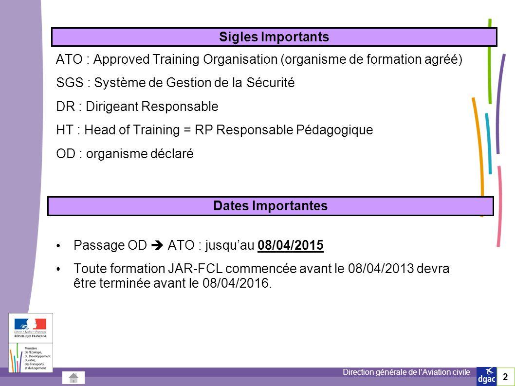Direction générale de lAviation civile 33 Procédures DSAC – Certification (ARA.GEN.310) On attribue alors un numéro à lorganisme certifié ATO .