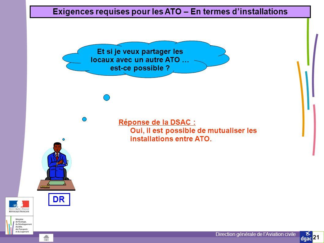 Direction générale de lAviation civile 21 Exigences requises pour les ATO – En termes dinstallations Et si je veux partager les locaux avec un autre ATO … est-ce possible .
