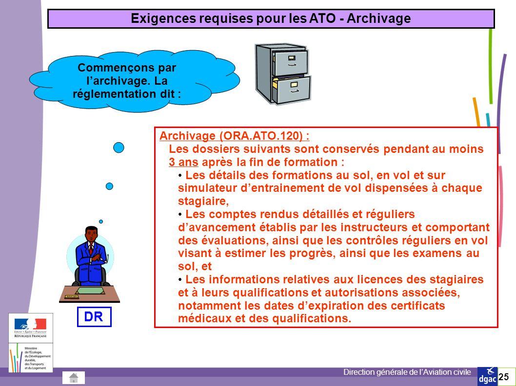Direction générale de lAviation civile 25 Commençons par larchivage.