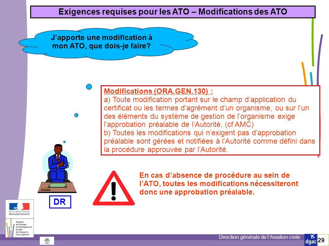 Direction générale de lAviation civile 29 Exigences requises pour les ATO – Modifications des ATO Japporte une modification à mon ATO, que dois-je faire.