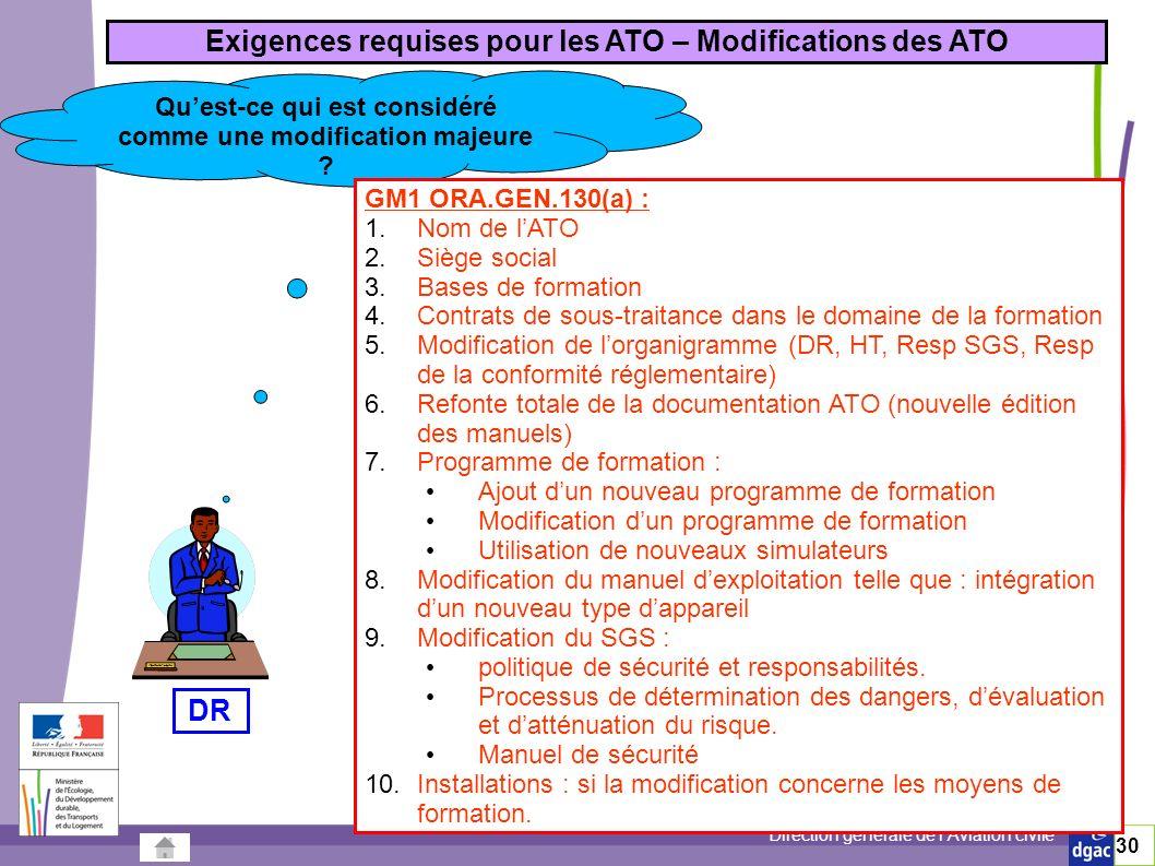 Direction générale de lAviation civile 30 Exigences requises pour les ATO – Modifications des ATO Quest-ce qui est considéré comme une modification majeure .