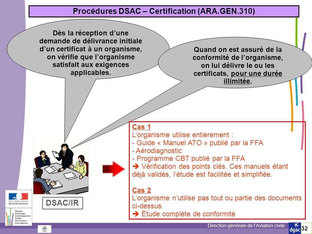 Direction générale de lAviation civile 32 Procédures DSAC – Certification (ARA.GEN.310) Dès la réception dune demande de délivrance initiale dun certificat à un organisme, on vérifie que lorganisme satisfait aux exigences applicables.
