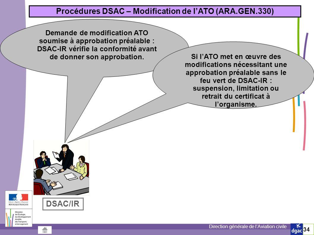 Direction générale de lAviation civile 34 Procédures DSAC – Modification de lATO (ARA.GEN.330) Demande de modification ATO soumise à approbation préalable : DSAC-IR vérifie la conformité avant de donner son approbation.