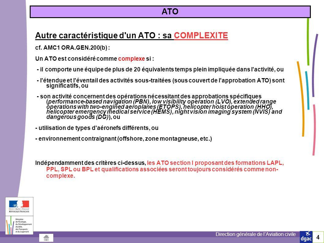 Direction générale de lAviation civile Autre caractéristique d un ATO : sa COMPLEXITE cf.