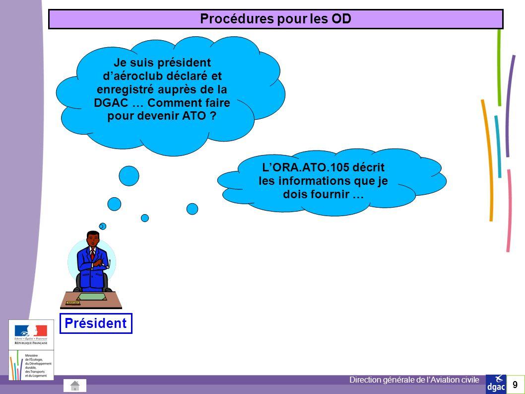 9 Procédures pour les OD Je suis président daéroclub déclaré et enregistré auprès de la DGAC … Comment faire pour devenir ATO .
