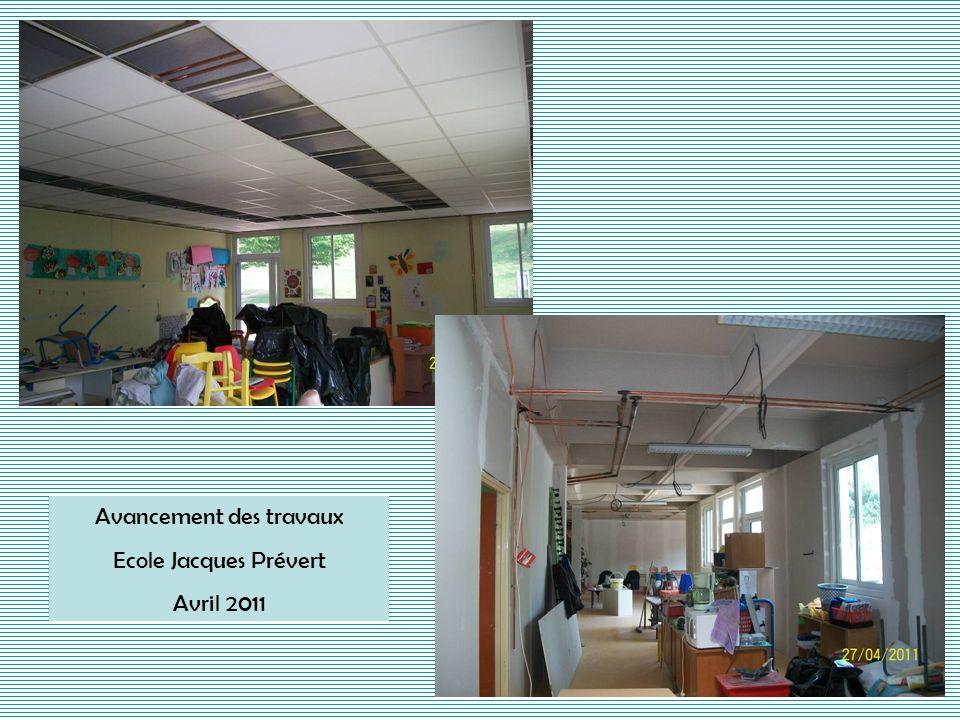 Mise en place du faux plafond Ecole Jacques Prévert Mai 2011