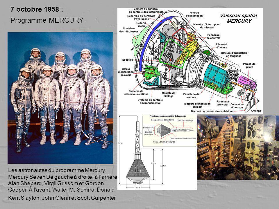 7 octobre 1958 : Programme MERCURY Les astronautes du programme Mercury. Mercury Seven De gauche à droite, à l'arrière : Alan Shepard, Virgil Grissom