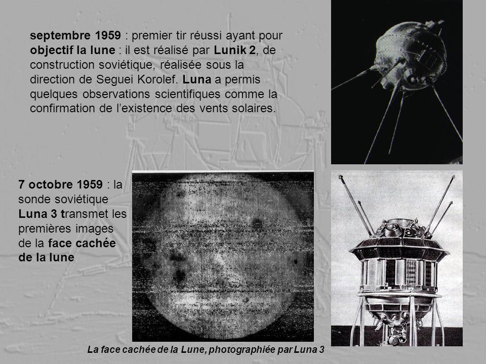 septembre 1959 : premier tir réussi ayant pour objectif la lune : il est réalisé par Lunik 2, de construction soviétique, réalisée sous la direction d