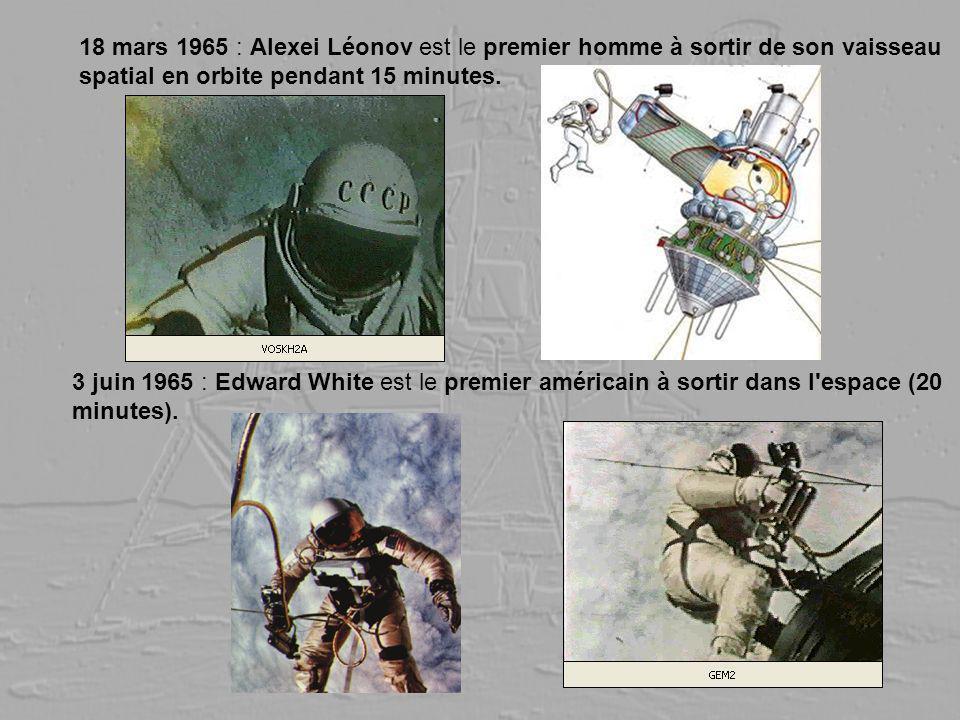 18 mars 1965 : Alexei Léonov est le premier homme à sortir de son vaisseau spatial en orbite pendant 15 minutes. 3 juin 1965 : Edward White est le pre