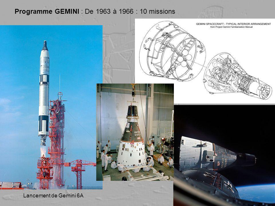 Programme GEMINI : De 1963 à 1966 : 10 missions Lancement de Gemini 6A