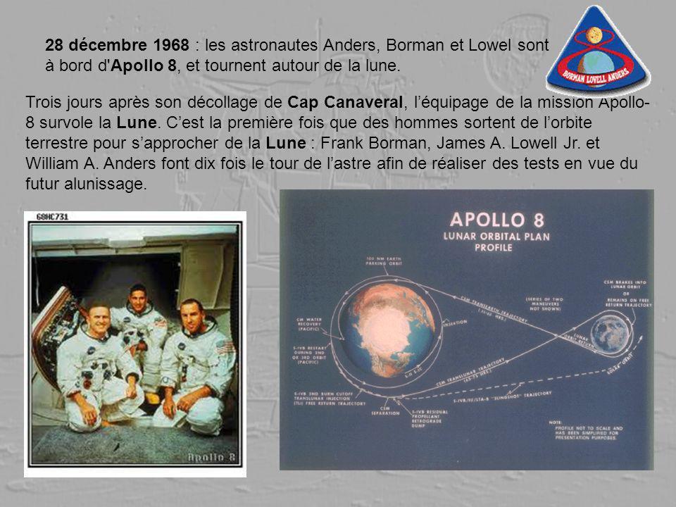 28 décembre 1968 : les astronautes Anders, Borman et Lowel sont à bord d'Apollo 8, et tournent autour de la lune. Trois jours après son décollage de C
