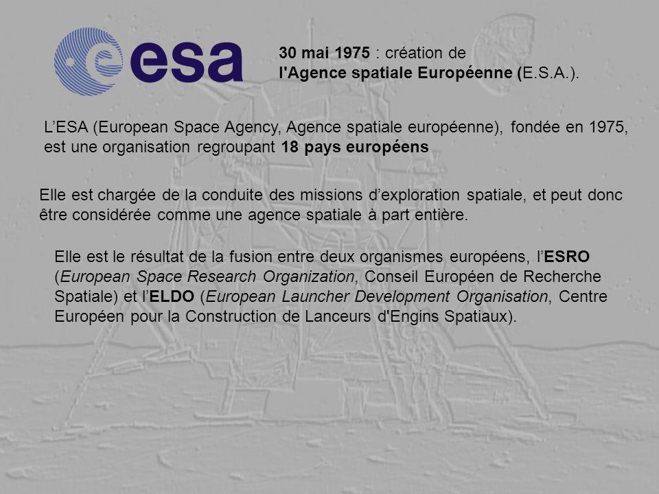 30 mai 1975 : création de l'Agence spatiale Européenne (E.S.A.). LESA (European Space Agency, Agence spatiale européenne), fondée en 1975, est une org